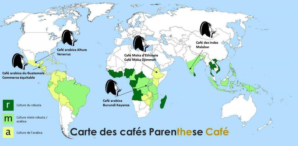 Carte des cafés Parenthese Café