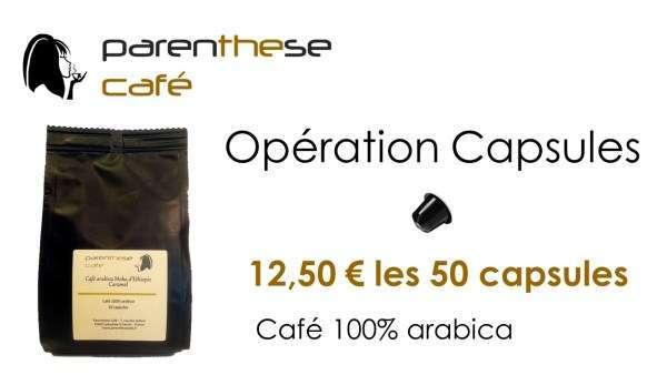 Opération Capsules - Lot de 50 capsules Parenthese Café