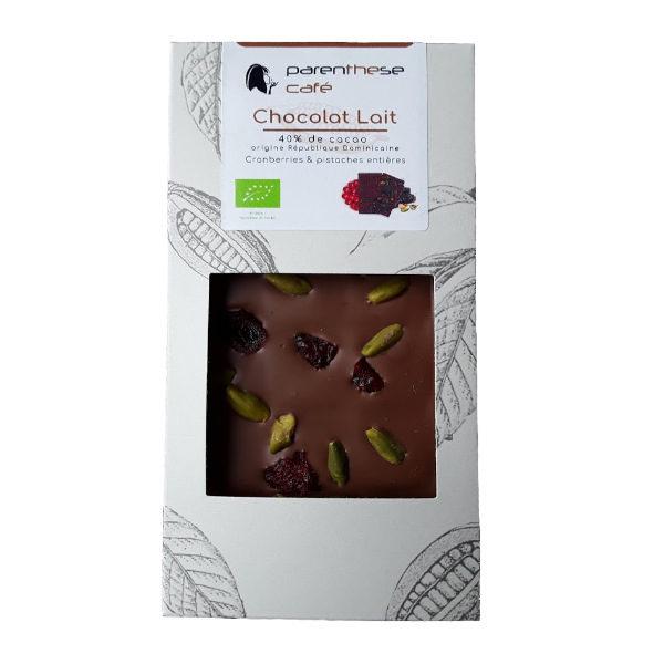 Etui de chocolat lait Bio cranberries & pistaches
