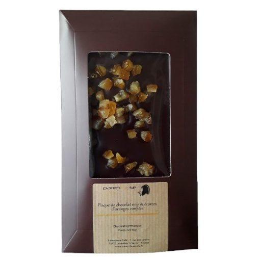 Plaque de chocolat noir & écorces d'oranges confites - Parenthese Café