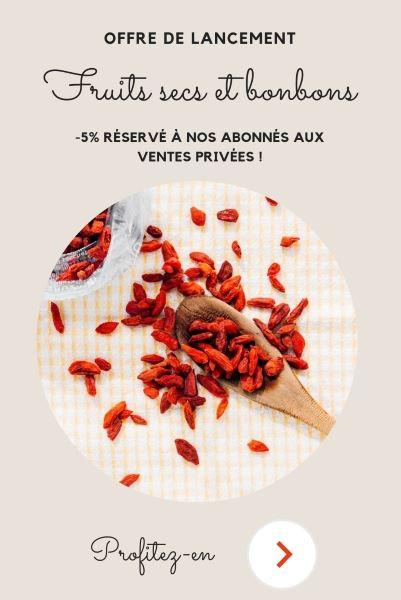 Pop-up Ventes privées Fuits secs et bonbons