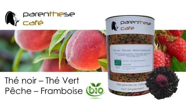 Thé noir - Thé vert Pêche - Framboise Bio Parenthese Café